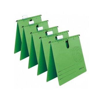 Папка картотека Herlitz, Л-образна, изработена от картон, с метални шини, зелена, 5бр. в опаковка image