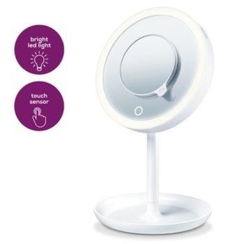 Козметично огледало Beurer BS 45, 5 степенно увеличение, 16 см, LED свелина, автоматично изключване след 10 мин., тавичка за боклуци, бяло image