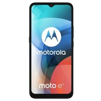 "Смартфон Motorola Moto e7 (син), поддържа 2 sim карти, 6.5"" (16.51 cm IPS дисплей, осемядрен MediaTek Helio G25 2.0 GHz, 2GB RAM, 32GB Flash памет (+ microSD слот), 48.0 + 2.0 & 5.0 Mpix камера, Android, 180 g image"