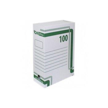 Архивна кутия за документи, 350х250х100 mm, бяла image