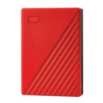 Твърд диск 4TB, Western Digital My Passport, червен, външен, USB 3.2 Gen 1 image