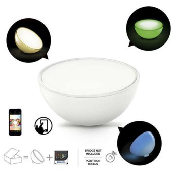 LED настолна Philips Hue Go, ключ за вкл./изкл, сменящ се цвят (LED), Тип батерия: AA, 6W (28W), 300 lm, Студена бяла, 220V image