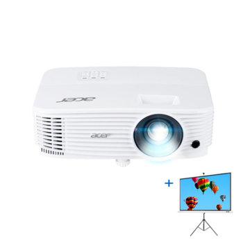 "Проектор Acer P1186 в комплект с екран Acer T82-W01MW (82.5""), DLP, XGA (1024x768), 20,000:1, 4000 lumens, HDMI, VGA, USB image"