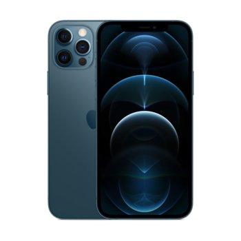 """Смартфон Apple iPhone 12 Pro (Pacific Blue), 6.1"""" (15.49 cm) Super Retina XDR OLED дисплей, шестядрен A14 Bionic, 6GB RAM, 128GB Flash памет, 12.0 + 12.0 + 12.0 & 12.0 MPix камера, iOS 14, 189 g image"""