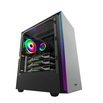Кутия Gamdias MARS E1, ATX/Micro ATX/Mini-ITX, 1x USB 3.0, 2x 3.5mm жак, прозорец, черна, RGB подсветка, без захранване image