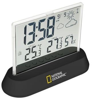Електронна метеостанция Bresser National Geographic, вътрешна и външна температура, относителна влажност, часовник, будилник, прозрачна image