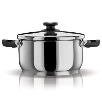 Тенджера Pyramis Classic 015024201, 5.5 литра, 24 cm диаметър, стомана, тройна топлоакумулираща основа, 3 нива на готвене, с капак, инокс image