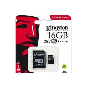 Карта памет 16GB microSDHC, с SD адаптер, Kingston Canvas Select, Class 10, скорост на четене 80MB/s, скорост на запис 10MB/s image
