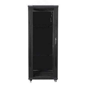 """Комуникационен шкаф Lanberg FF01-6832-12B, 19"""", 32U, 600 x 800 x 1603, стъклена врата, черен image"""