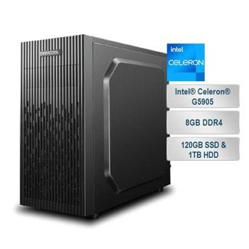 "Настолен компютър PC ""School Days 2"", двуядрен Intel Celeron G5905 3.5GHz, 8GB DDR4, 1TB HDD, 120GB SSD, 4x USB 3.2, Free DOS image"