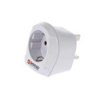 Адаптер Skross 1500230, 1 гнездо, от EU към UK, бял image
