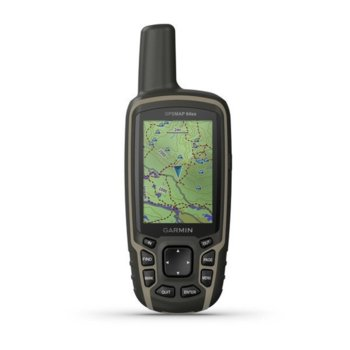 """Ръчна навигация Garmin GPSMAP 64sx, 2.6""""(6.60cm), Bluetooth, ANT, TFT сензорен цветен дисплей, 8GB вградена памет, microSD слот, водоустойчив, до 16 часа време за работа, основна карта image"""