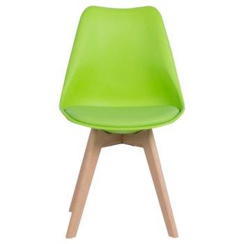 Трапезен стол Carmen 9958 B, полипропилен, еко кожа, дървена база, зелен image