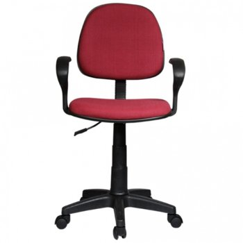 Работен стол OKOffice Task 6012 Eco, пластмасови подлакътници, газов амортисьор, коригиране на височината, червен image