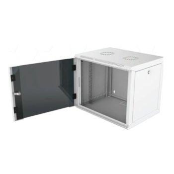 """Комуникационен шкаф Security Professionals MR.WTC16U45MN.02, 19"""", 16U, 565 x 450 x 755, стенен монтаж, товароносимост 80кг, отваряеми странични панели, стъклена врата, вентилационни отвори, сив image"""