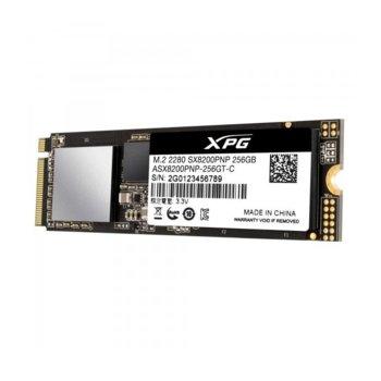 Памет SSD 256GB A-Data XPG SX8200 Pro, PCIe NVMe, M.2 (2280), скорост на четене 3500MB/s, скорост на запис 1200MB/s image