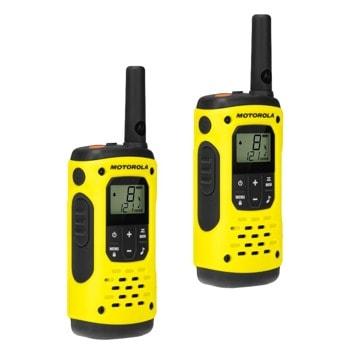 Радиостанции Motorola Talkabout T92 H2O PMR (59T92H2OPACK), PMR446, 16 канала + 121 кода за поверителност, до 10 km, заключване на клавиатурата, щипка за колан, 2.5 мм жак за слушалки, LCD дисплей, LED фенерче, жълти image