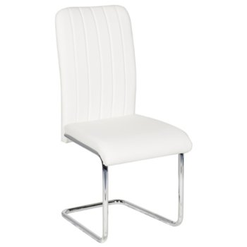 Трапезен стол Carmen 372, еко кожа, хромирана база, бял image
