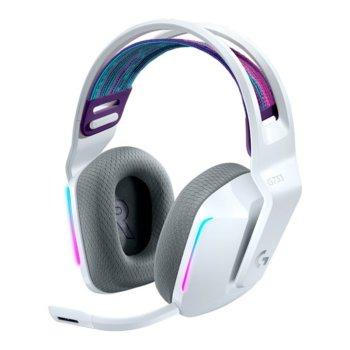 Слушалки Logitech G733 (981-000883), безжични, микрофон, 40mm говорители, до 29 часа време за работа, 20 Hz - 20 kHz, подсветка, бели image