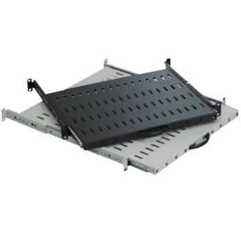 Sliding-рафт MIRSAN MR.HRK80.01 за сървърен шкаф - 482 x 525 x 45 мм, D=800 мм, вентилиран, 4-точков монтаж, 30 кг товар, черен image