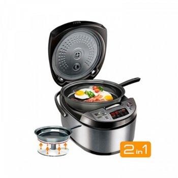 Мултифункционален уред за готвене Redmond RMK-M451E, 1000 W, капацитет 5л, LED дисплей, незалепващо покритие, аксесоари, инокс image