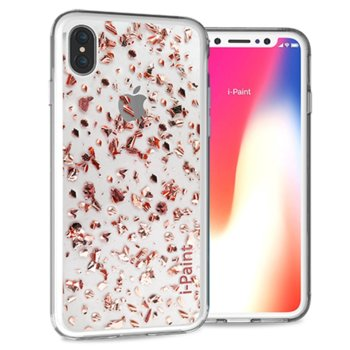 Калъф за Apple iPhone XS, хибриден, iPaint Glitter Flakes 840703, прозрачен image