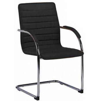 Посетителски стол RFG Sky M, до 120кг, еко кожа, метална база, черен, 4 броя в комплект image