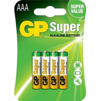 Батерии алкални, GP Super, AAA, 1.5V, 4бр. image