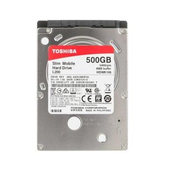 "Твърд диск 500GB Toshiba L200 HDWK105UZSVA, SATA 3Gb/s, 5400 rpm, 8MB, 2.5"" (6.35 cm), Bulk image"