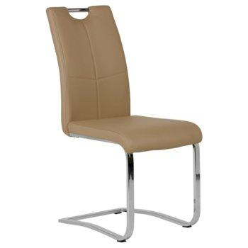 Трапезен стол Carmen 370-1, Еко кожа, 100 кг. максимално натоварване, бежов image