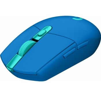 Мишка Logitech G305 Lightspeed, оптична (12 000 dpi), безжична, USB, синя, гейминг, 6 програмируеми бутона image