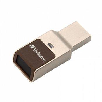 Памет 32GB USB Flash Drive, Verbatim Store'n'Go Dual Drive, USB 3.0, с пръстов отпечатък, сребриста image