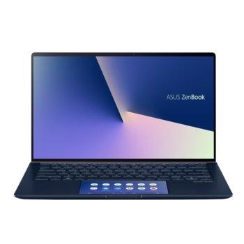 """Лаптоп Asus ZenBook UX434FLC-WB501T (90NB0MP1-M10660)(син), четириядрен Comet Lake Intel Core i5-10210U 1.6/4.2 GHz, 14"""" (35.56 cm) Full HD Glare Display & MX250 2GB, (HDMI), 8GB, 512GB SSD, 1x USB 3.1 Type C, Windows 10 Pro image"""