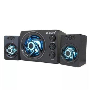 Тонколони Kisonli TM-8000A, 2.1, 11W (5W + 2x 3W) RMS, USB, AUX, Bluetooth, бял/черен image