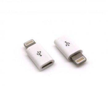Адаптер Sbox AD.MUSB-IPH5, от micro USB-A(ж) към Lightning (8pin), бял image
