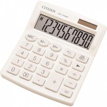 Калкулатор Citizen SDC-810WHE, 10-цифрен едноредов LCD дисплей, настолен, функция на паметта с 3 клавиша: MRC, M +, M-, автоматично изключване, бял image