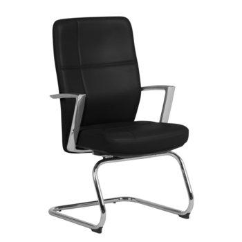 Посетителски стол Carmen Siena, естествена кожа, подлакътници, до 130 kg., алуминиева база, лумбална опора, черен image
