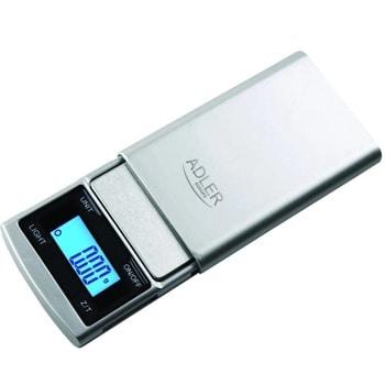 Бижутерски кантар Adler AD 3168, капацитет 100 гр, LCD дисплей с подсветка, измерва в грам/унция/тройунция/dwt/брой, точност до 0.01гр, сребрист image
