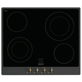 Електрически плот за вграждане SMEG P864AO, 4 нагревателни зони, регулируем термостат, светлинен индикатор, черен image