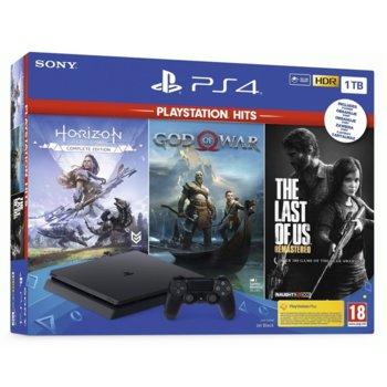 Конзола Sony PlayStation 4 Slim в комплект с 3 игри (God of War + Horizon Zero Dawn + The Last Of Us), 1TB, черен image