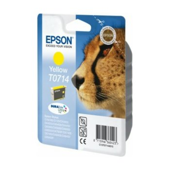 Глава за Epson Stylus D78/D92/D120/D120 Network Edition,DX4000/4050/4400/4450/5000/5050/6000/6050/7000F/7400/7450/8400/9400; SX200/210/215/400/415/218 - Yellow - P№ C13T07144012 - Заб.: 350k, 5.5 ml. image