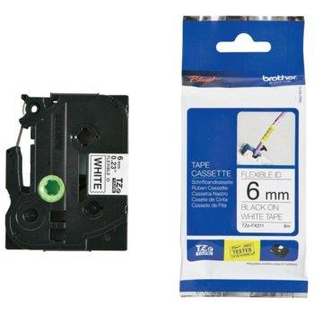 ЛЕНТА ЗА ЕТИКЕТНИ ПРИНТЕРИ BROTHER ТИП TZ - 6mm BLACK on White, Laminated, P№TZe-FX211 image