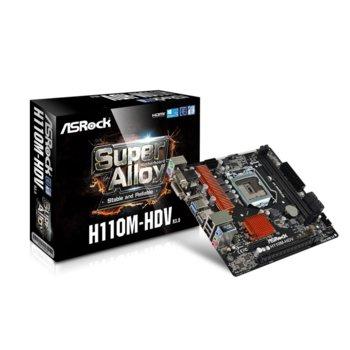 Дънна платка ASRock H110M-HDV R3.0, H110, LGA 1151, DDR4, PCI-E (HDMI&DVI&VGA), 4x SATA 6Gb/s, 2x USB 3.0, micro ATX  image