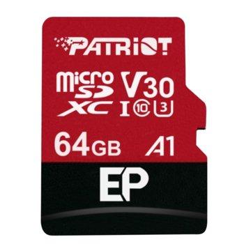 Карта памет 64GB microSDXC с адаптер, Patriot EP Series (PEF64GEP31MCX), Class 10 U3, скорост на четене 90MB/s, скорост на запис 80MB/s image