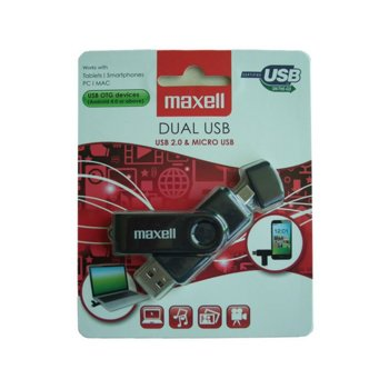 "Памет 32GB USB Flash Drive, Maxell ""Dual"", USB/MicroUSB 2.0, черна  image"