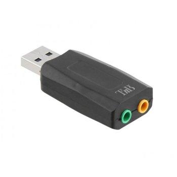 Външна звукова карта TnB, USB 2.0, 1x Audio Out, 1x Mic, черна image