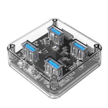 USB Хъб Orico (MH4U-U3-03-CR), 4 port, USB 3.0, прозрачен image