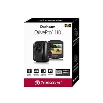 """Видеорегистратор Transcend DrivePro 110 в комплект с Transcend 16GB memory card & Suction Mount, камера за автомобил, Full HD, 2.4""""(6.09 cm) LCD дисплей, microSD слот до 128GB, microUSB, USB 2.0, Wi-Fi 802.11n image"""