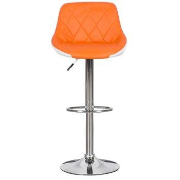 Бар стол Carmen, 3080, хромирана основа и мека, кожена седалка, газов амортисьор за коригиране на височината и степенка, оранжево бял image