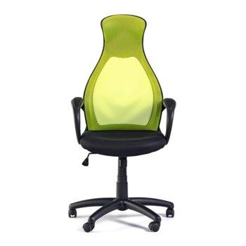 Работен стол Mistik Green, дамаска и меш, зелено и черно image